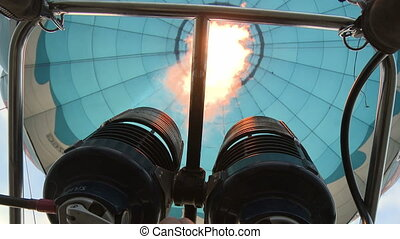 Balloon tecnical parts. - Balloon burner aerial shot from...