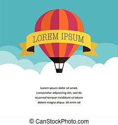 balloon, transzparens, háttér, nap, levegő