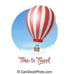 balloon, travel., hemel, mal, achtergrond., blauwe ,...