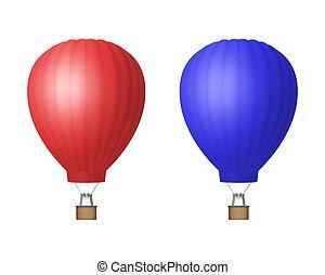 balloon, vakantie, mockup, toerisme, concept, mal, lucht,...