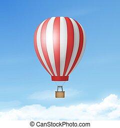 balloon, vakantie, toerisme, concept, mal, lucht, zomer,...
