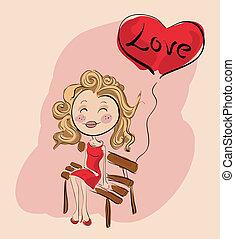 balloon, valentijn, liefde, meisje, bankje