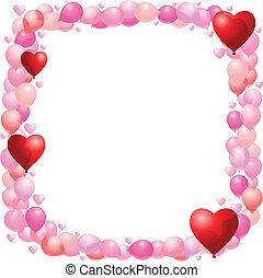 balloon, valentines, cadre
