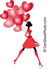 balloon, valentines, isolé, girl