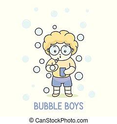balloon, vecteur, jouer, illustration, bulle, garçon, lunettes