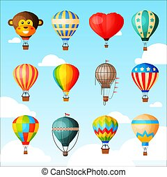 Balloon vector cartoon air-balloon or aerostat with basket flying in sky and ballooning adventure flight illustration set of ballooned traveling isolated on background