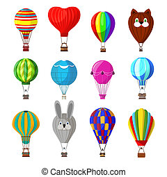Balloon vector cartoon air-balloon or aerostat with basket flying in sky and ballooning adventure flight illustration set of ballooned traveling flying toy isolated on white background