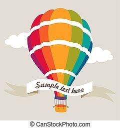 balloon, vector, illustratie, kleurrijke, lucht