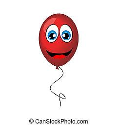 balloon, vektor, ábra, piros