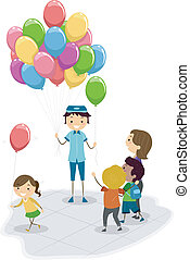 Balloon Vendor - Illustration of a Vendor Selling Balloons