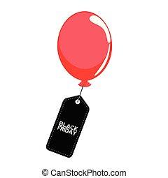 balloon, vendredi, noir, étiquette