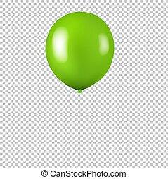 balloon, verde, isolato, fondo, trasparente