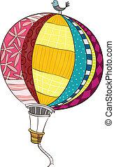 balloon, verhite-lucht, aanzicht