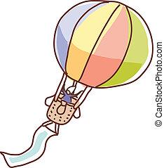 balloon, verhite-lucht, zwevend