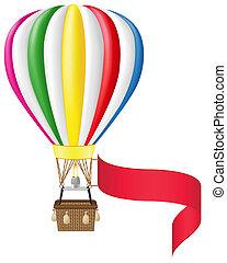 balloon, vide, bannière, air chaud