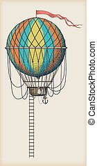 balloon, vieux, air