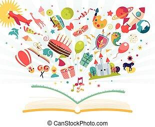 balloon, voando, foguete, -, ar, imaginação, conceito, avião, livro aberto, saída