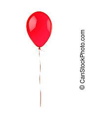balloon, voando, isolado, branco vermelho