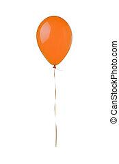balloon, voando, isolado, fundo, laranja, branca