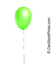 balloon, voando, verde, isolado, branca