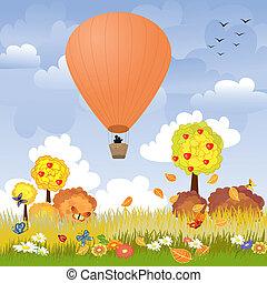 balloon, vol, romantique