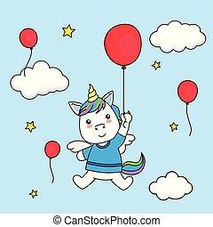 balloon, voler, forme coeur, licorne