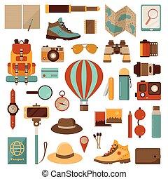 balloon, voyage air, aventure, icônes