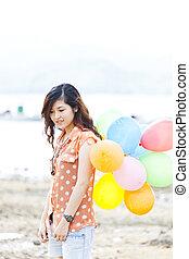balloon, vrouw, aziaat