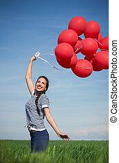 balloon, vrouw, jonge, rood