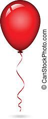 balloon, wektor, ilustracja, czerwony