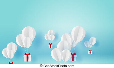Balloon white floating on sky.Delivery service with Gift Box...
