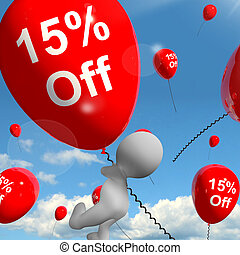 Balloon With 15% Off Showing Discount Of Fifteen Percent