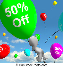 Balloon With 50% Off Showing Discount Of Fifty Percent