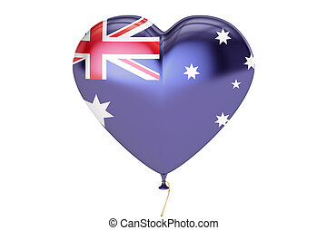 balloon with Australia flag in the shape of heart, 3D rendering