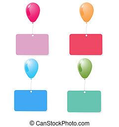 balloon with blank card set vector