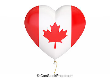 balloon with Canada flag in the shape of heart, 3D rendering
