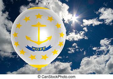 balloon with flag of rhode island on sky