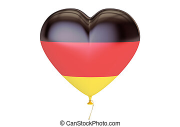 balloon with Germany flag in the shape of heart, 3D rendering