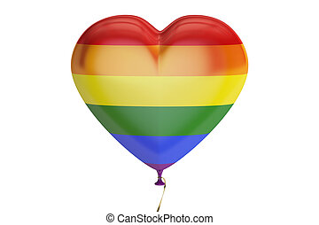 balloon with rainbow gay pride flag in the shape of heart, 3D rendering