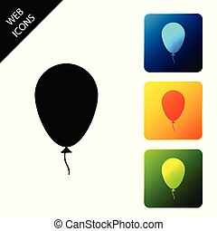 Balloon with ribbon icon isolated on white background. Set icons colorful square buttons. Vector Illustration