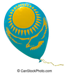 Balloon with the image of the national flag of Kazakhstan.