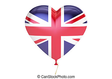 balloon with United Kingdom flag in the shape of heart, 3D rendering