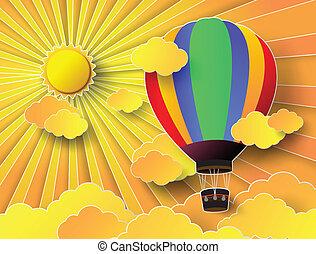 balloon, zachód słońca, gorący, barwny, powietrze