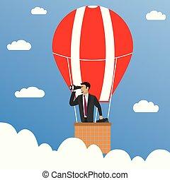balloon., zakenman, warme, verrekijker, lucht