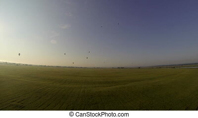 Ballooning. Aerial view of summer landscape early morning