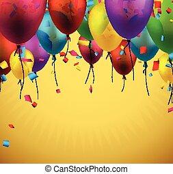 balloons., świętować, tło