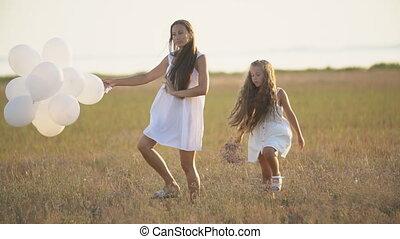 balloons, белый, мама, дочь