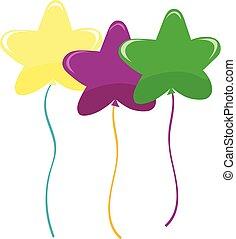 balloons., ベクトル, 形づくられた, 星