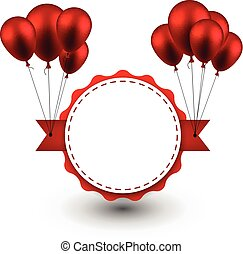 balloons., 賞, リボン, 背景, 赤
