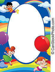 balloons., 飛行, 子供